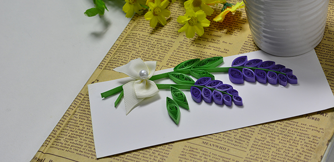 Greeting cards doreens inspirational diys how to make a lavender greeting card with quilling paper 1 m4hsunfo